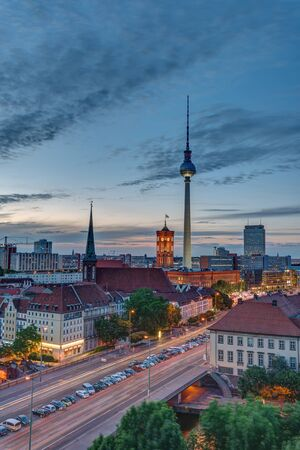 The famous Television Tower and downtown Berlin after sunset Editorial