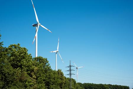 풍력 발전소와 나무 호수