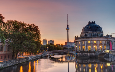 Beautiful sunrise at the Museum Island in Berlin with the Television Tower in the back Editorial