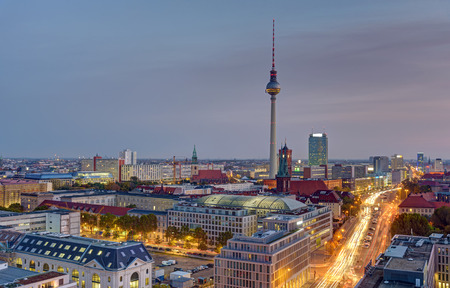 Dawn over central Berlin with the famous Television Tower in the back Editorial