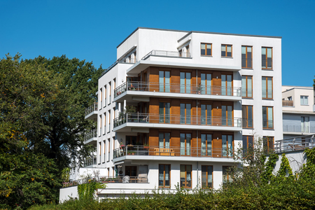 Modern white apartment house lakes in Berlin, Germany Stock Photo