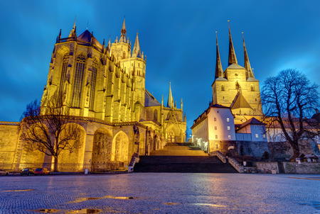 The famous Cathedral and Severi church at Erfurt at dusk