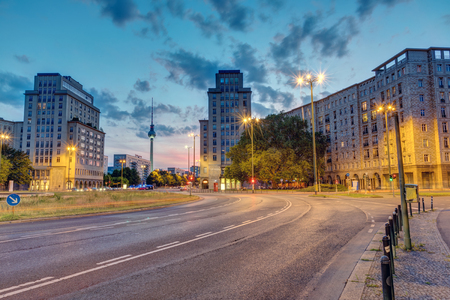 The Strausberger Platz in Berlin with the Television Tower after sunset