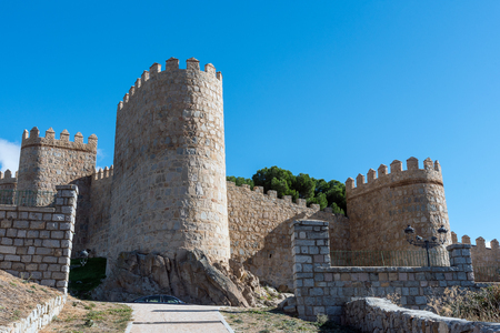 The imposing medieval city wall of Avila in Spain Editorial