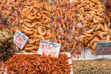 Different types of shrimps at a market in Madrid, Spain