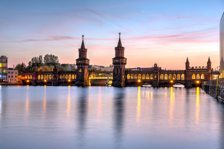 The beautiful Oberbaubruecke over river Spree in Berlin at sunset