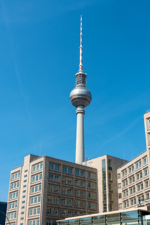 The famous TV tower in Berlin on a sunny day Stock Photo