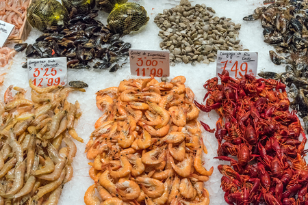 Prawns and scallops for sale in Madrid, Spain