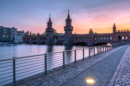 Beautiful sunset at the Oberbaumbridge in Berlin, Germany 写真素材