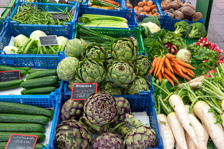 Fresh vegetables for sale at the Viktualienmarkt in Munich, Germany
