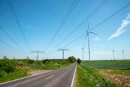 Highway, power transmission lines and wind energy plants lakes in Germany