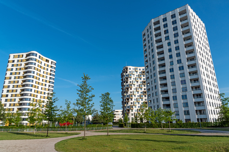 Modern multistory apartment buildings in Munich, Germany Stok Fotoğraf