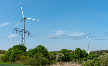 Wind turbines, overhead lines and scrub lakes in Germany