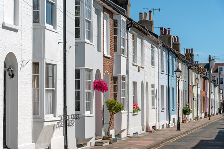 Colorful serial houses seen in Brighton, England
