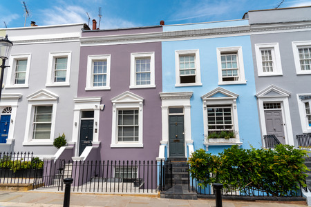 Colorful row houses in Notting Hill, London