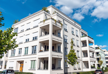 Recently built white apartment buildings in Berlin, Germany