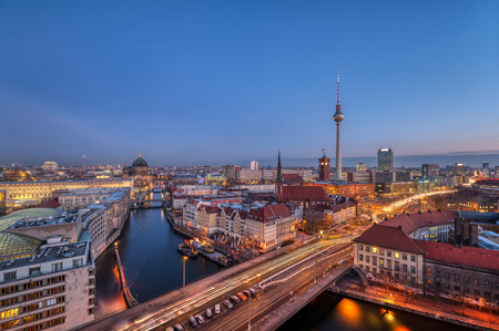 Downtown Berlin with the famous Television Tower at dawn Editorial