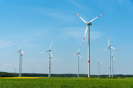 Wind turbines on a sunny day in Germany