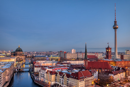 The heart of Berlin with the famous Television Tower at dawn Editorial
