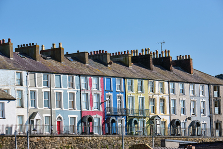 Colorful serial houses seen in Wales, Great Britain Editorial