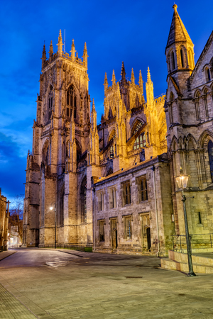 The famous York Minster in England at twilight Stock Photo