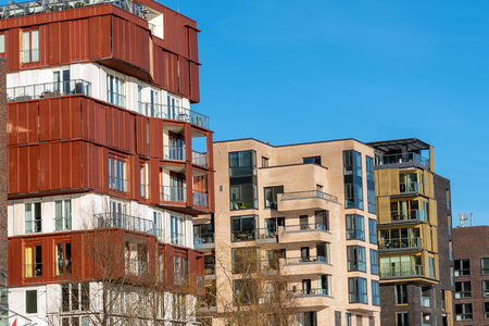 Modern apartment houses in the harbor city in Hamburg, Germany
