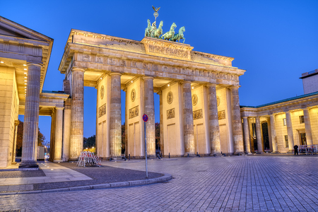 The famous Brandenburg Gate at Berlin at dawn