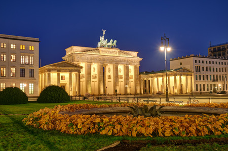The famous Brandenburg Gate at Berlin at night