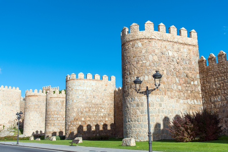 The famous city wall of Avila in Spain on a sunny day