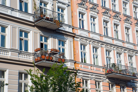 Facades of some renovated old residential construction buildings at the Prenzlauer Berg district in Berlin, Germany