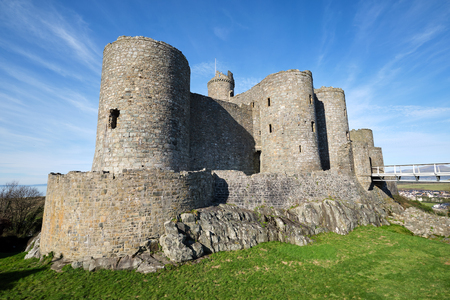 The Harlech Castle in North Wales on a sunny day