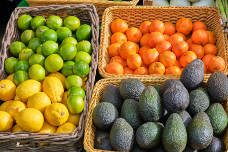 Avocados, lemons, limes and tangerines for sale at a market