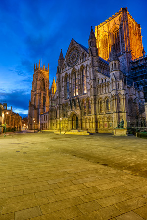 The south transept of the York Minster in England at twilight