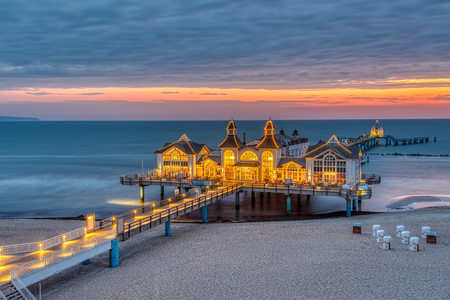 The beautiful sea pier of Sellin on Ruegen island at Germany at dawn