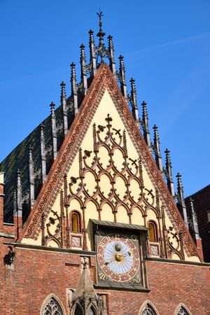 Detail of the Old Town Hall of Wroclaw, Poland, with the Astronomical Clock