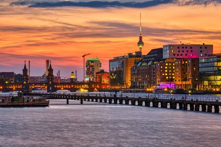 Beautiful sunset at the river Spree in Berlin, Germany