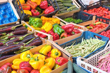 Bell peppers and other vegetables for sale at a market in Naples, Italy Reklamní fotografie