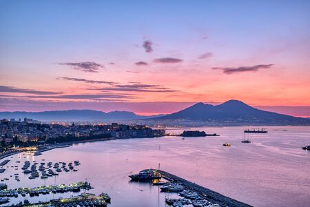 Sunrise over the Gulf of Naples in Italy