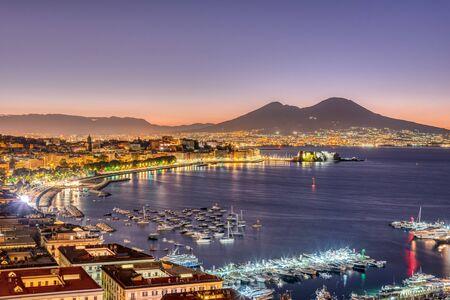 The Gulf of Naples with Mount Vesuvius before sunrise Reklamní fotografie