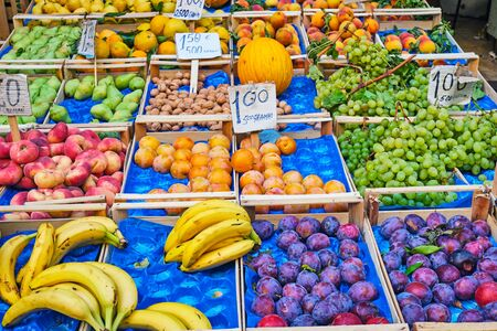 Great selection of fresh fruits for sale at a market in Naples, Italy