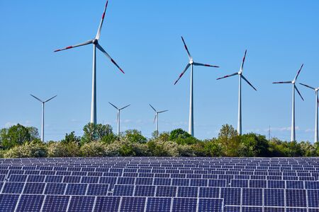 Solar panels and wind energy plants seen in Germany