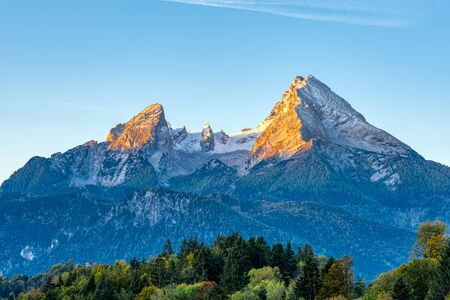 The first sunlight hits the famous Mount Watzmann in the Bavarian Alps