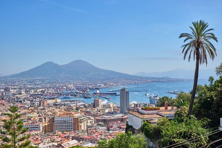 View of Naples with Mount Vesuvius on a sunny day Reklamní fotografie