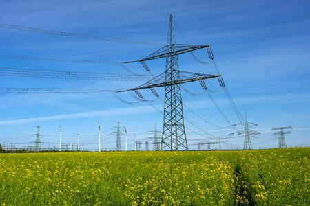 Electricity pylons and power lines seen in Germany