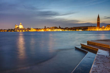 View to St Marks square and Punta della Dogana in Venice at night