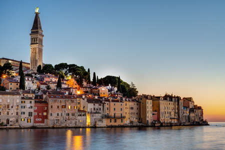 The beautiful old town of Rovinj in Croatia after sunset