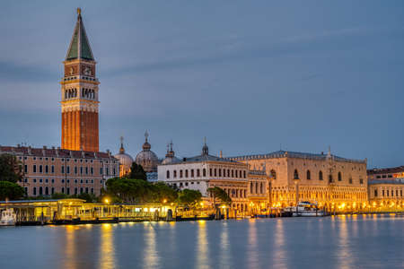 View to Piazza San Marco in Venice at night with the famous Campanile