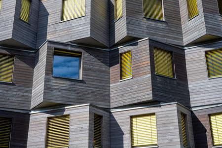 Detail of a wooden facade of a modern apartment building