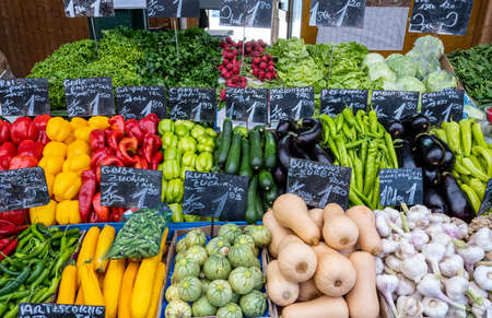 Great variation of fresh vegetables for sale at a market