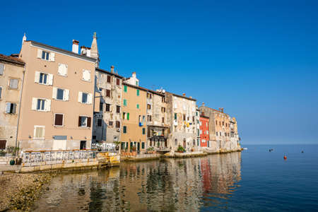 The old part of Rovinj in Crotia and the Adriatic Sea